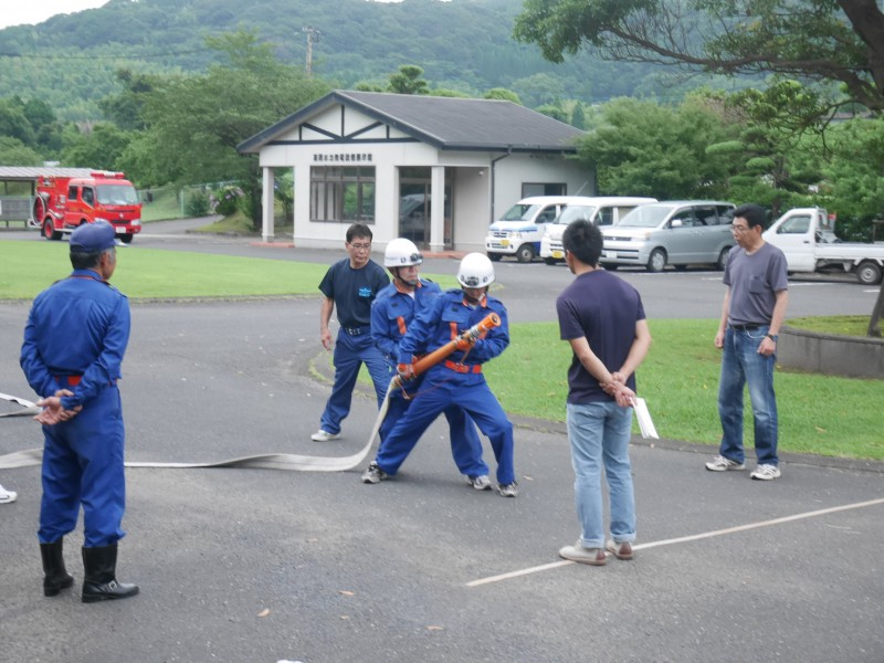 高隈 消防操法大会に向けての合同練習1